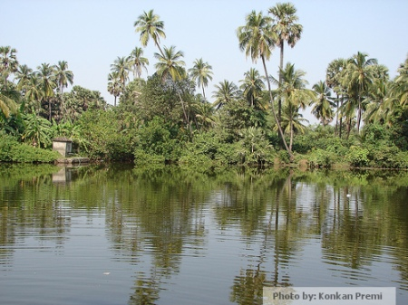 Lake opposite stupa
